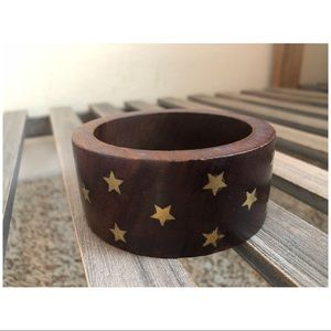 Jewelry - Wooden Bangle with Gold Stars